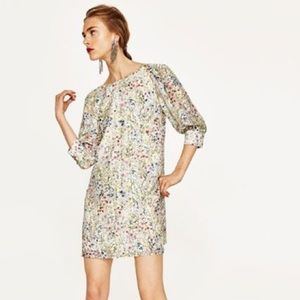 ZARA Floral Dress Puff Sleeve V Back Dress Size S